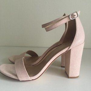Pink High Heels with Block Heel Pumps (Ema Blush)